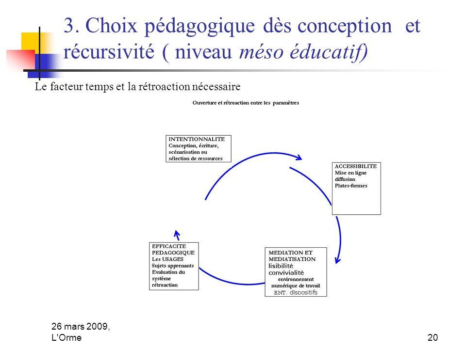 26 mars 2009, L'Orme20 3. Choix pédagogique dès conception et récursivité ( niveau méso éducatif) Le facteur temps et la rétroaction nécessaire