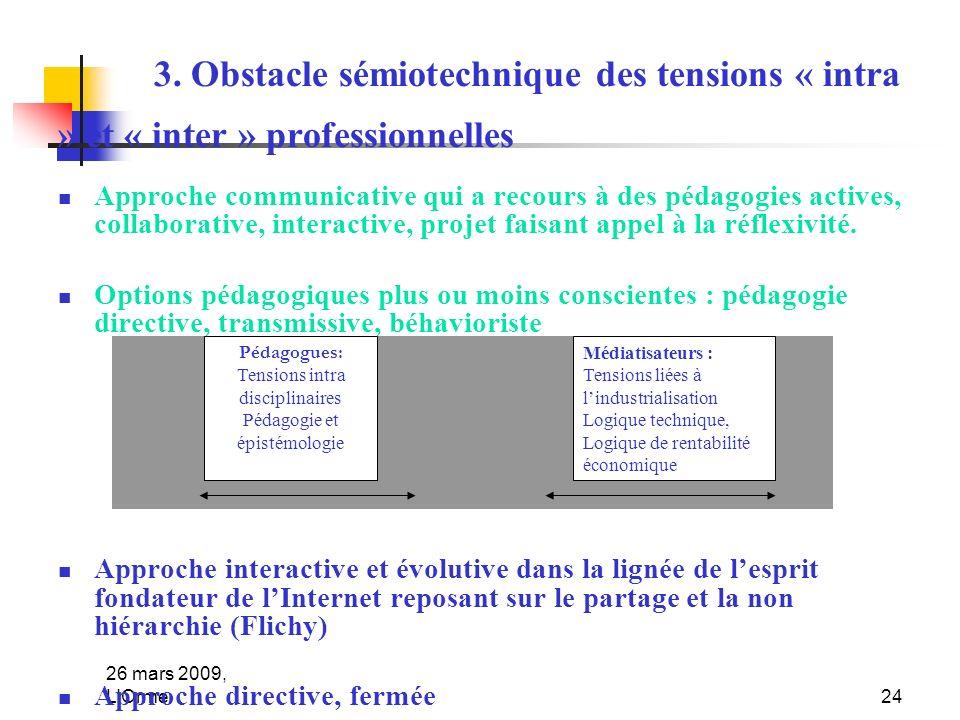 26 mars 2009, L'Orme24 3. Obstacle sémiotechnique des tensions « intra » et « inter » professionnelles Approche communicative qui a recours à des péda