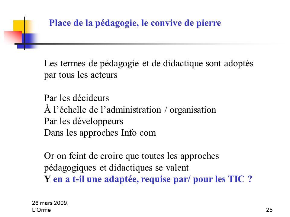 26 mars 2009, L'Orme25 Place de la pédagogie, le convive de pierre Les termes de pédagogie et de didactique sont adoptés par tous les acteurs Par les