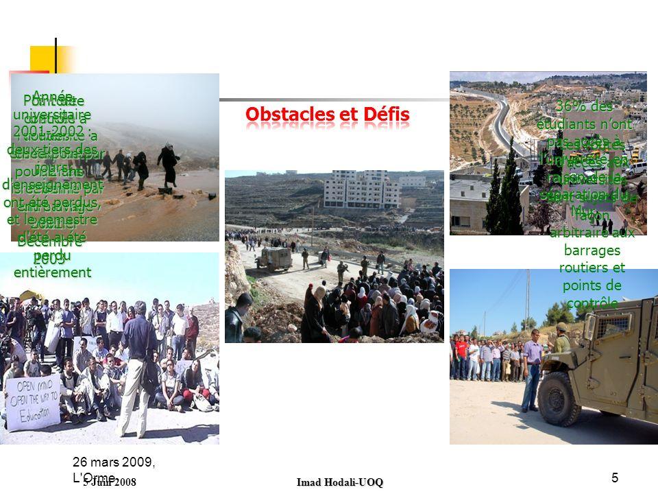 26 mars 2009, L Orme5 5 Juin 2008 Imad Hodali-UOQ 36% des étudiants nont pas accès à luniversité en raison de la séparation du Mur.