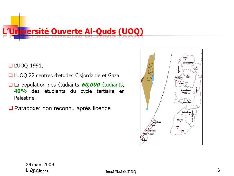 26 mars 2009, L'Orme6 5 Juin 2008 Imad Hodali-UOQ LUOQ 1991,. lUOQ 22 centres détudes Cisjordanie et Gaza La population des étudiants 60,000 étudiants