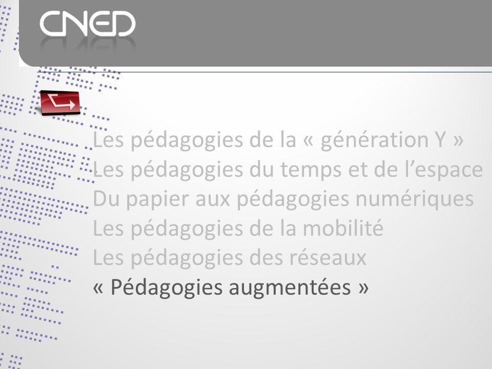 Les pédagogies de la « génération Y » Les pédagogies du temps et de lespace Du papier aux pédagogies numériques Les pédagogies de la mobilité Les pédagogies des réseaux « Pédagogies augmentées »