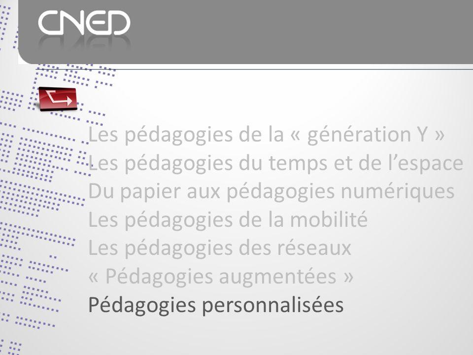 Les pédagogies de la « génération Y » Les pédagogies du temps et de lespace Du papier aux pédagogies numériques Les pédagogies de la mobilité Les pédagogies des réseaux « Pédagogies augmentées » Pédagogies personnalisées