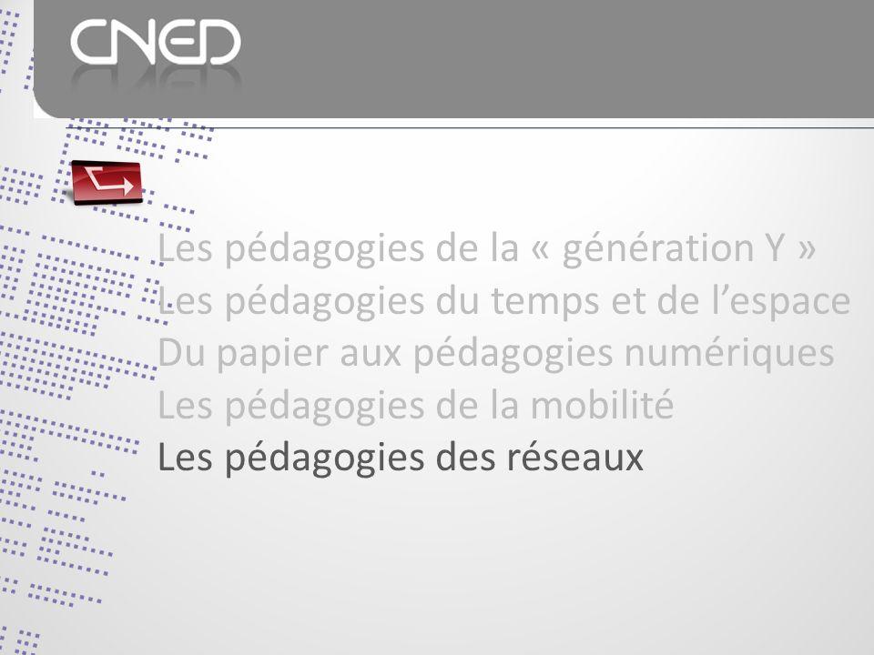 Les pédagogies de la « génération Y » Les pédagogies du temps et de lespace Du papier aux pédagogies numériques Les pédagogies de la mobilité Les pédagogies des réseaux