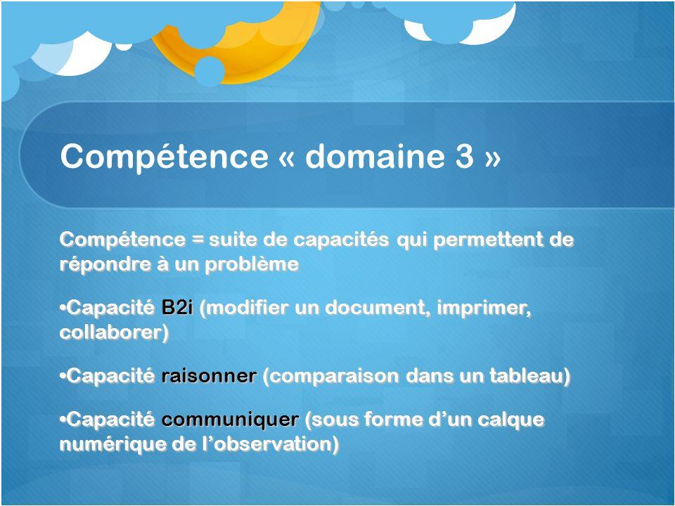 Compétence « domaine 3 » Compétence = suite de capacités qui permettent de répondre à un problème Capacité B2i (modifier un document, imprimer, collab