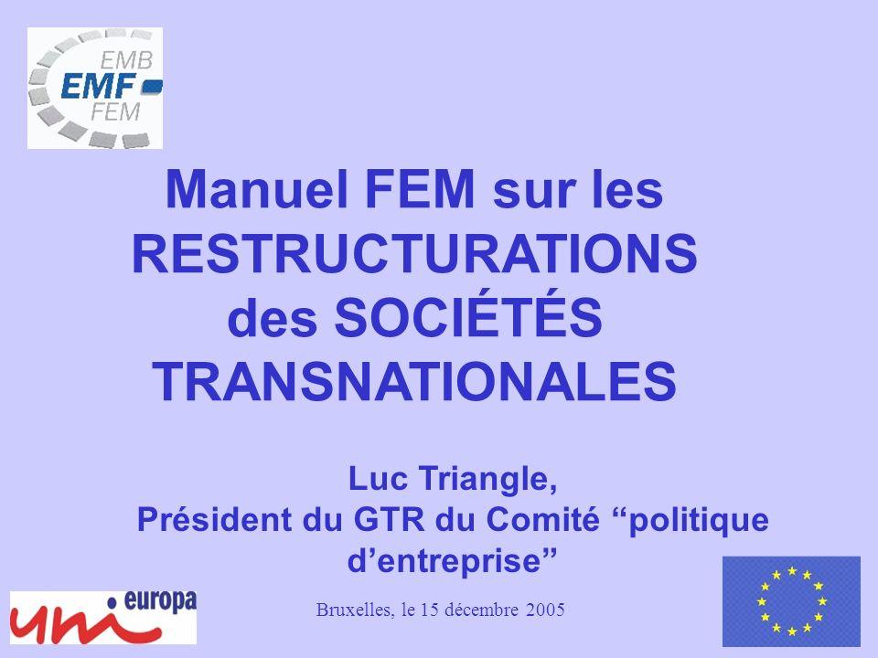 1 Luc Triangle, Président du GTR du Comité politique dentreprise Manuel FEM sur les RESTRUCTURATIONS des SOCIÉTÉS TRANSNATIONALES Bruxelles, le 15 décembre 2005