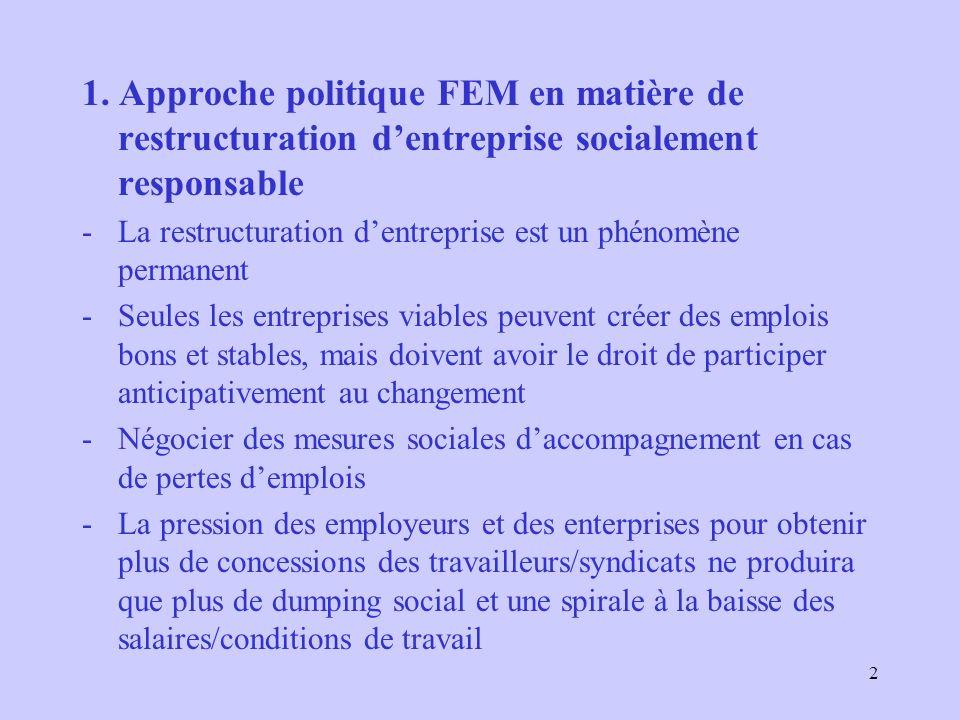 2 1. Approche politique FEM en matière de restructuration dentreprise socialement responsable -La restructuration dentreprise est un phénomène permane