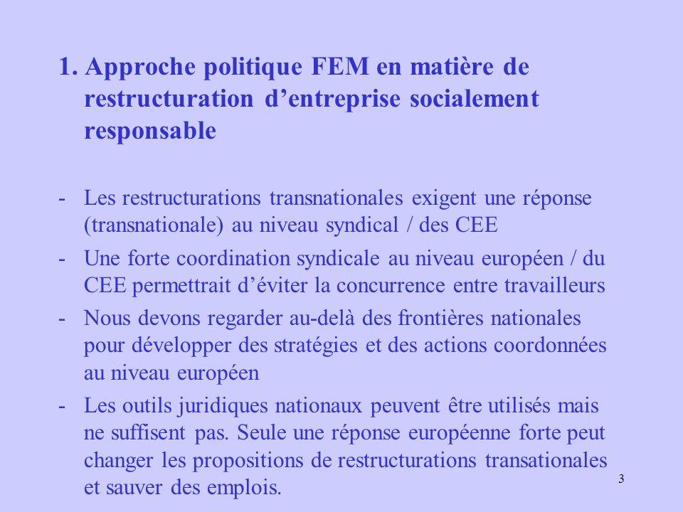 3 1. Approche politique FEM en matière de restructuration dentreprise socialement responsable -Les restructurations transnationales exigent une répons