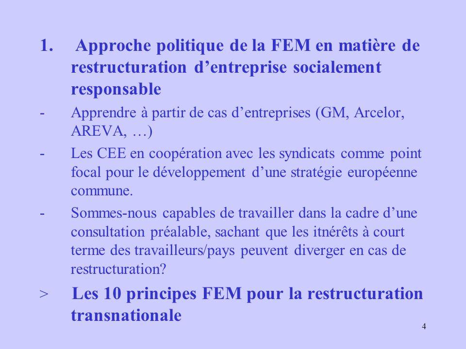 4 1. Approche politique de la FEM en matière de restructuration dentreprise socialement responsable -Apprendre à partir de cas dentreprises (GM, Arcel