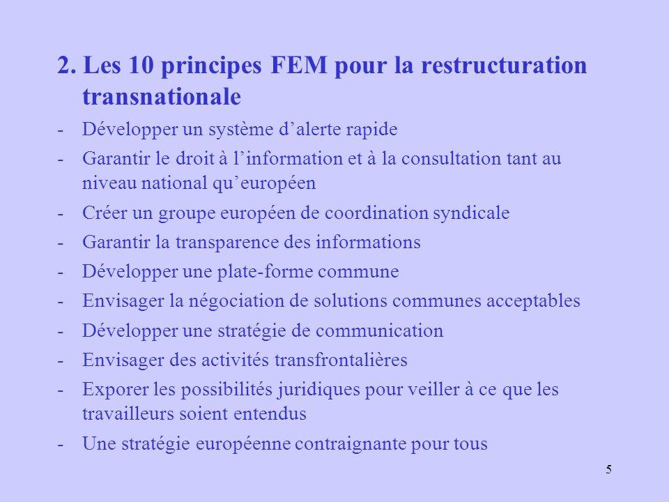 5 2. Les 10 principes FEM pour la restructuration transnationale -Développer un système dalerte rapide -Garantir le droit à linformation et à la consu