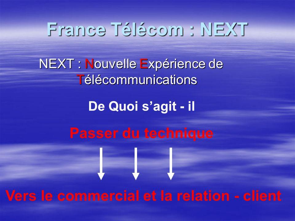 France Télécom : NEXT NEXT : Nouvelle Expérience de Télécommunications De Quoi sagit - il Passer du technique Vers le commercial et la relation - client