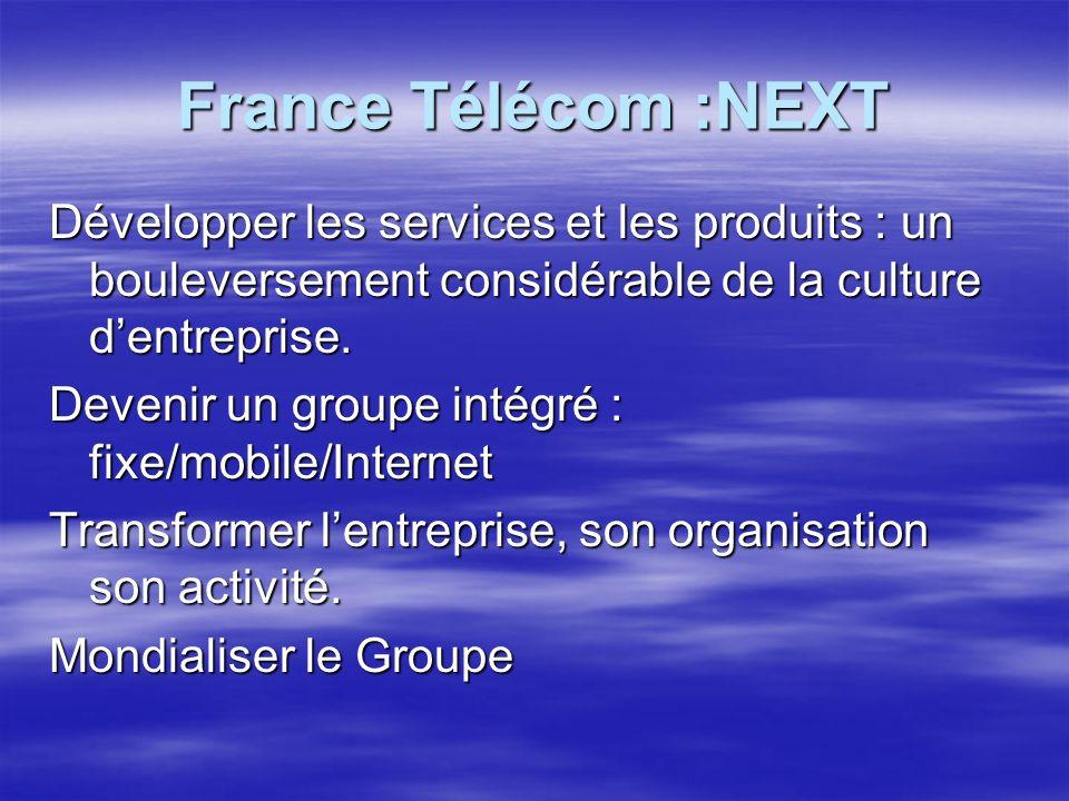 France Télécom :NEXT Développer les services et les produits : un bouleversement considérable de la culture dentreprise.