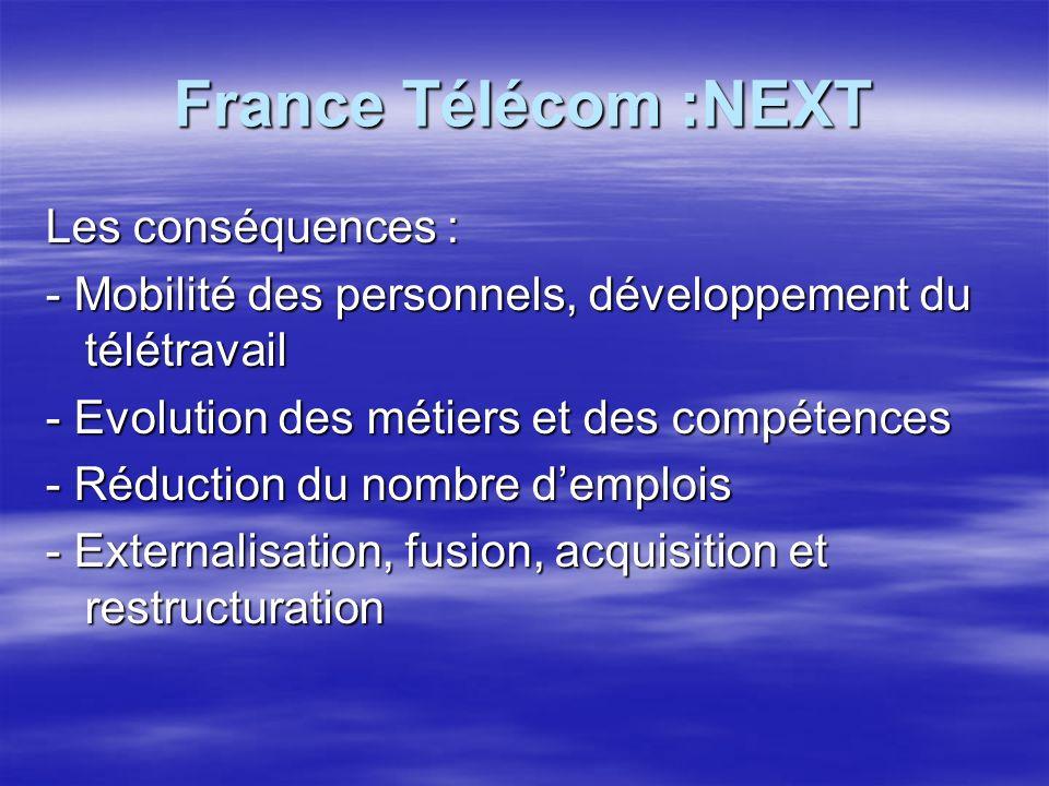 France Télécom :NEXT Les conséquences : - Mobilité des personnels, développement du télétravail - Evolution des métiers et des compétences - Réduction du nombre demplois - Externalisation, fusion, acquisition et restructuration
