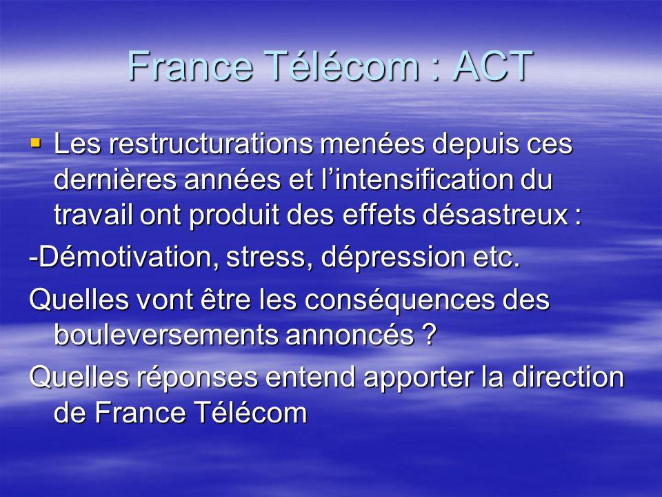 France Télécom : ACT Les restructurations menées depuis ces dernières années et lintensification du travail ont produit des effets désastreux : Les restructurations menées depuis ces dernières années et lintensification du travail ont produit des effets désastreux : -Démotivation, stress, dépression etc.