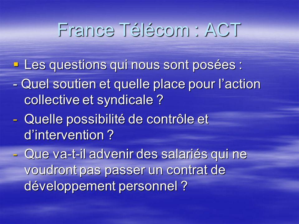 France Télécom : ACT Les questions qui nous sont posées : Les questions qui nous sont posées : - Quel soutien et quelle place pour laction collective et syndicale .