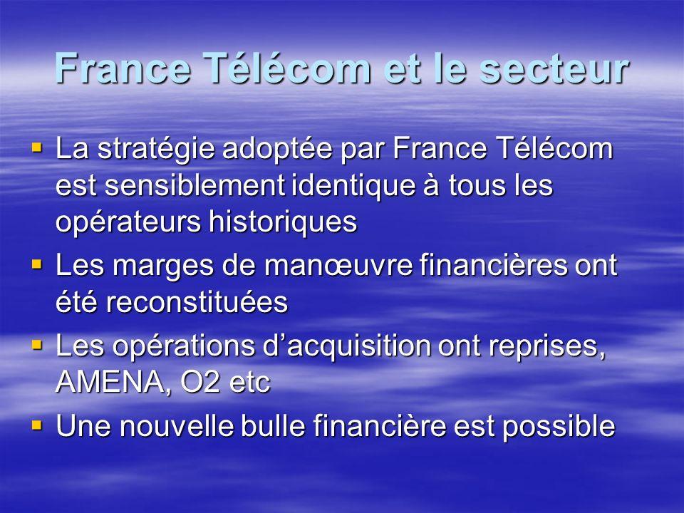 France Télécom et le secteur La stratégie adoptée par France Télécom est sensiblement identique à tous les opérateurs historiques La stratégie adoptée par France Télécom est sensiblement identique à tous les opérateurs historiques Les marges de manœuvre financières ont été reconstituées Les marges de manœuvre financières ont été reconstituées Les opérations dacquisition ont reprises, AMENA, O2 etc Les opérations dacquisition ont reprises, AMENA, O2 etc Une nouvelle bulle financière est possible Une nouvelle bulle financière est possible