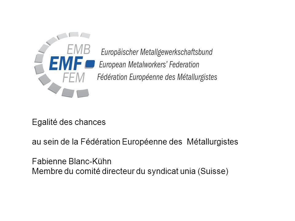 Egalité des chances au sein de la Fédération Européenne des Métallurgistes Fabienne Blanc-Kühn Membre du comité directeur du syndicat unia (Suisse)