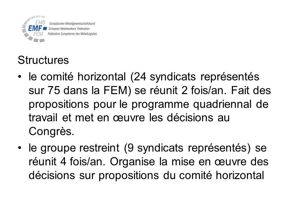 Structures le comité horizontal (24 syndicats représentés sur 75 dans la FEM) se réunit 2 fois/an. Fait des propositions pour le programme quadriennal
