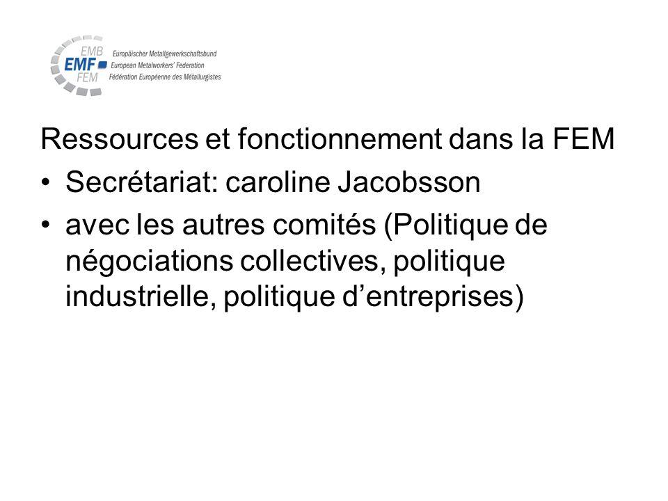 Ressources et fonctionnement dans la FEM Secrétariat: caroline Jacobsson avec les autres comités (Politique de négociations collectives, politique ind