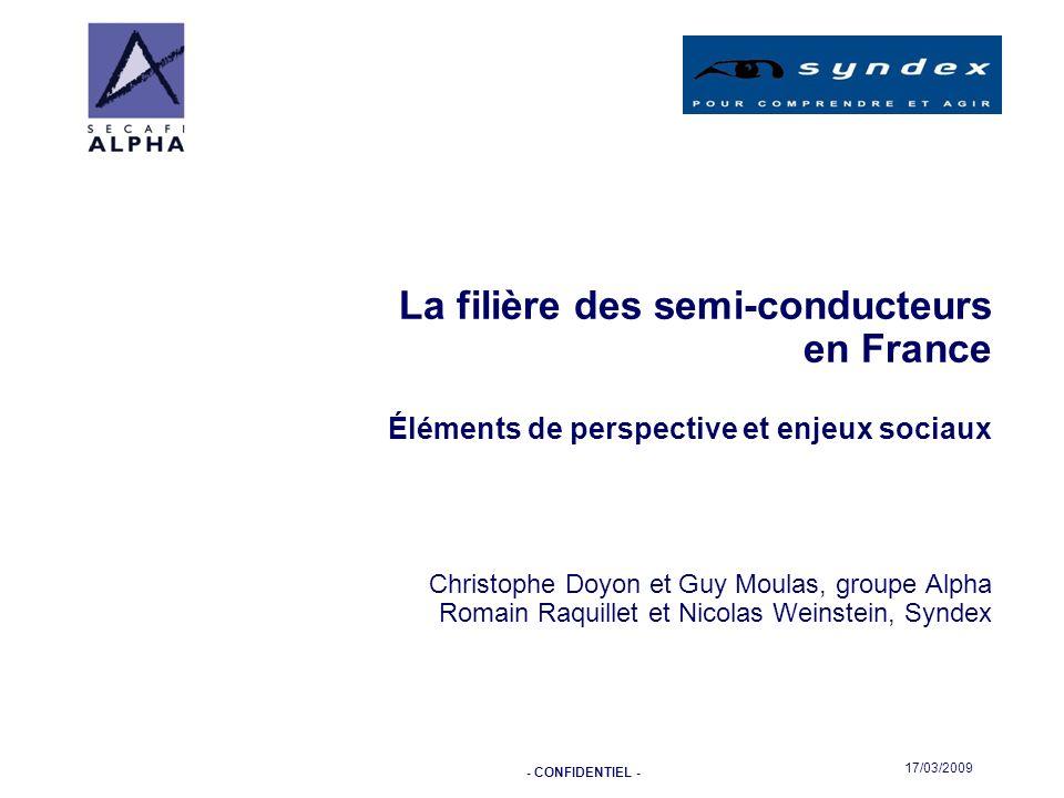 - CONFIDENTIEL - 17/03/2009 La filière des semi-conducteurs en France Éléments de perspective et enjeux sociaux Christophe Doyon et Guy Moulas, groupe