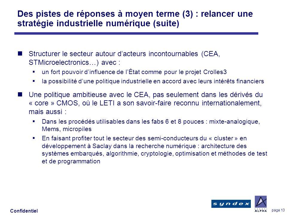 Confidentiel page 13 Des pistes de réponses à moyen terme (3) : relancer une stratégie industrielle numérique (suite) Structurer le secteur autour dac