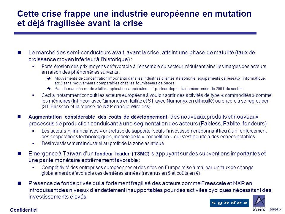 Confidentiel page 5 Cette crise frappe une industrie européenne en mutation et déjà fragilisée avant la crise Le marché des semi-conducteurs avait, av