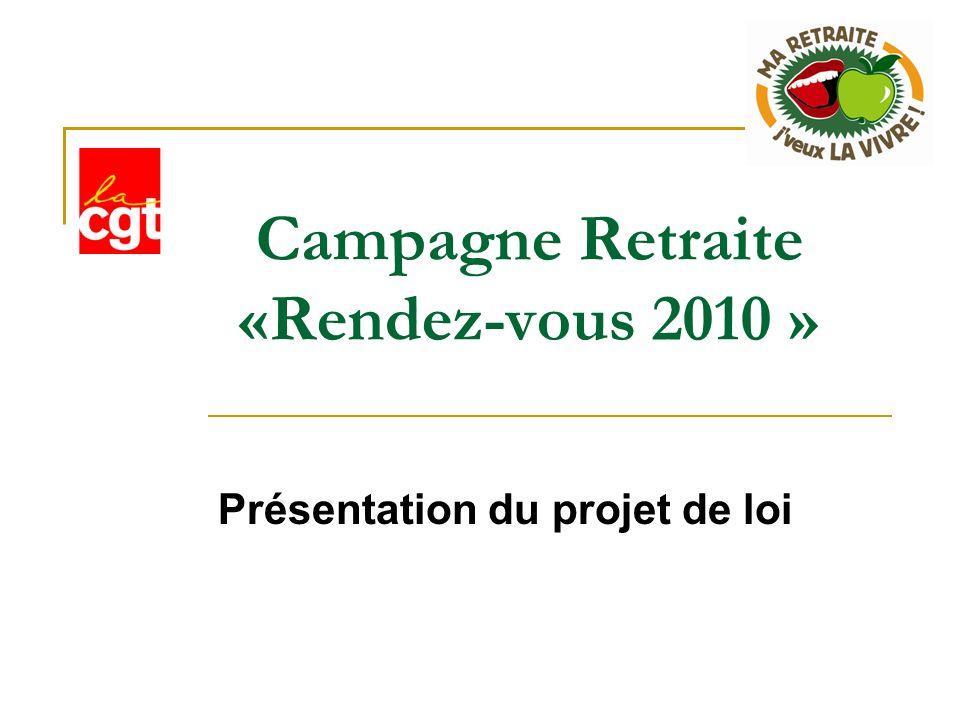 Campagne Retraite «Rendez-vous 2010 » Présentation du projet de loi