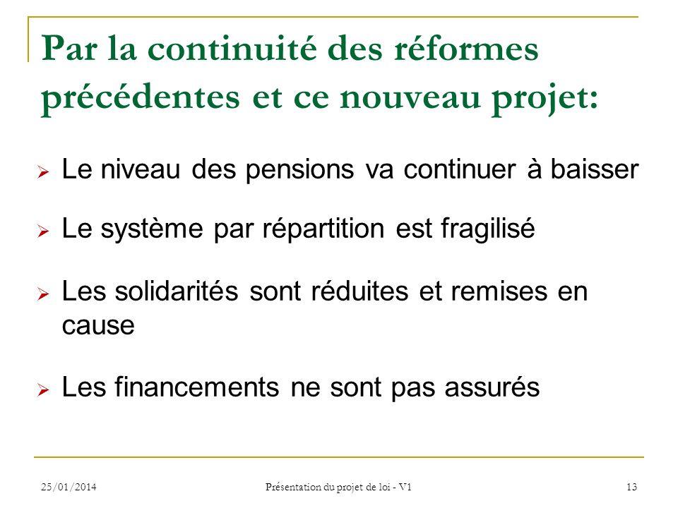 25/01/2014 Présentation du projet de loi - V1 13 Par la continuité des réformes précédentes et ce nouveau projet: Le niveau des pensions va continuer à baisser Le système par répartition est fragilisé Les solidarités sont réduites et remises en cause Les financements ne sont pas assurés