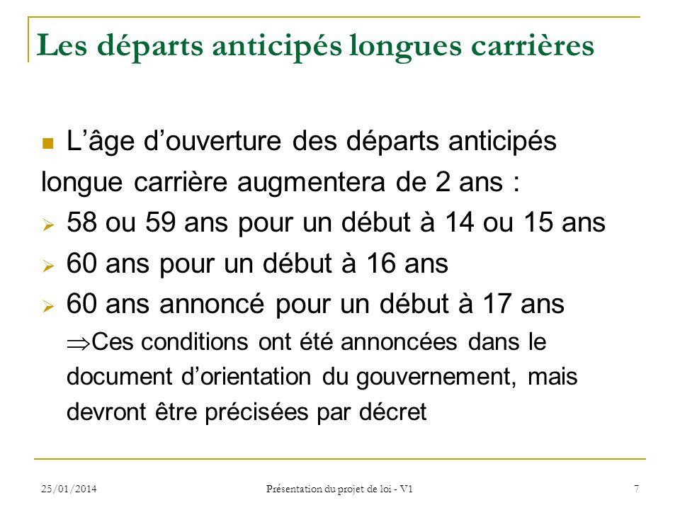 25/01/2014 Présentation du projet de loi - V1 7 Les départs anticipés longues carrières Lâge douverture des départs anticipés longue carrière augmente