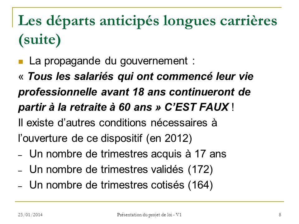 25/01/2014 Présentation du projet de loi - V1 8 Les départs anticipés longues carrières (suite) La propagande du gouvernement : « Tous les salariés qu