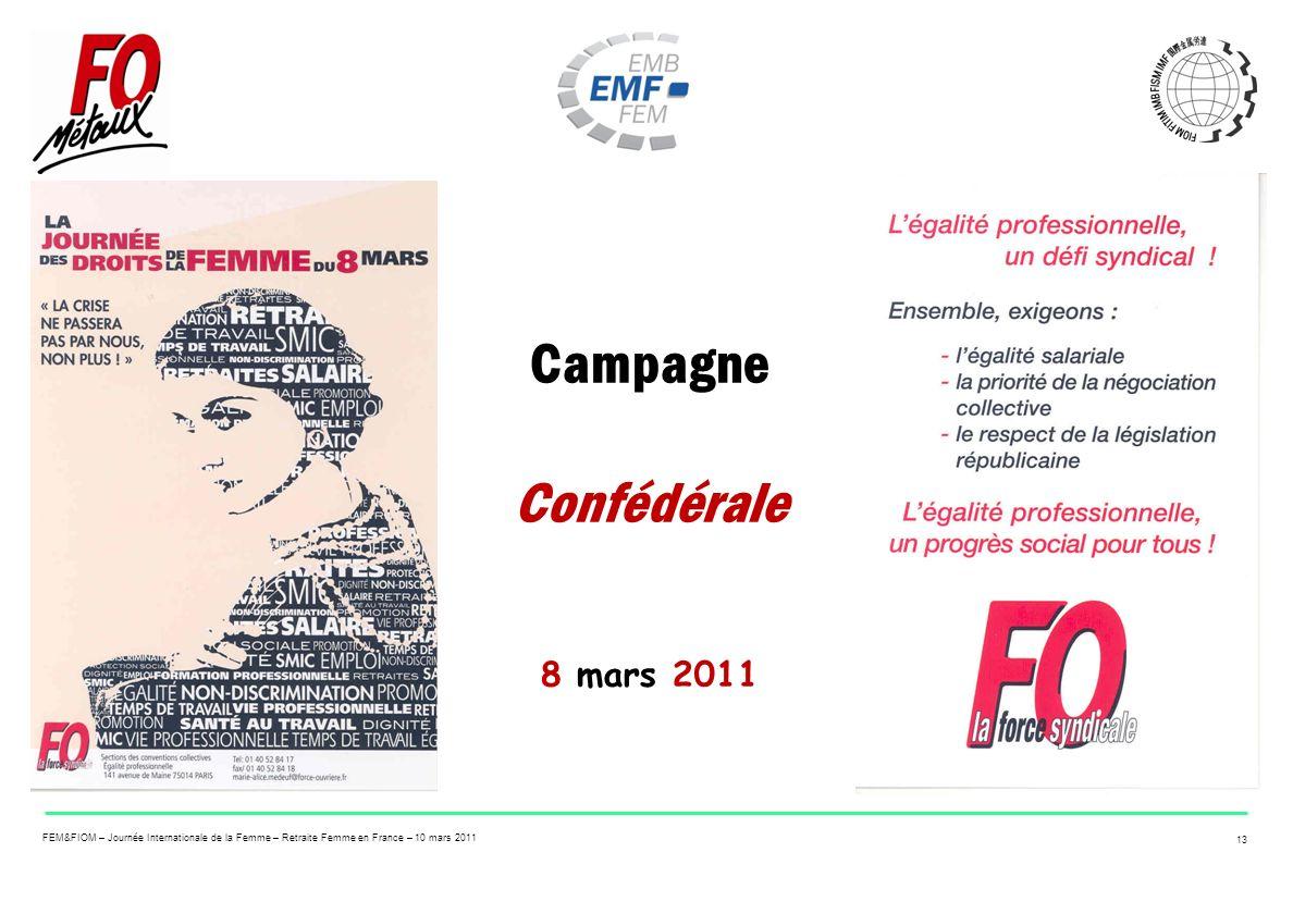 FEM&FIOM – Journée Internationale de la Femme – Retraite Femme en France – 10 mars 2011 13 Campagne Confédérale 8 mars 2011