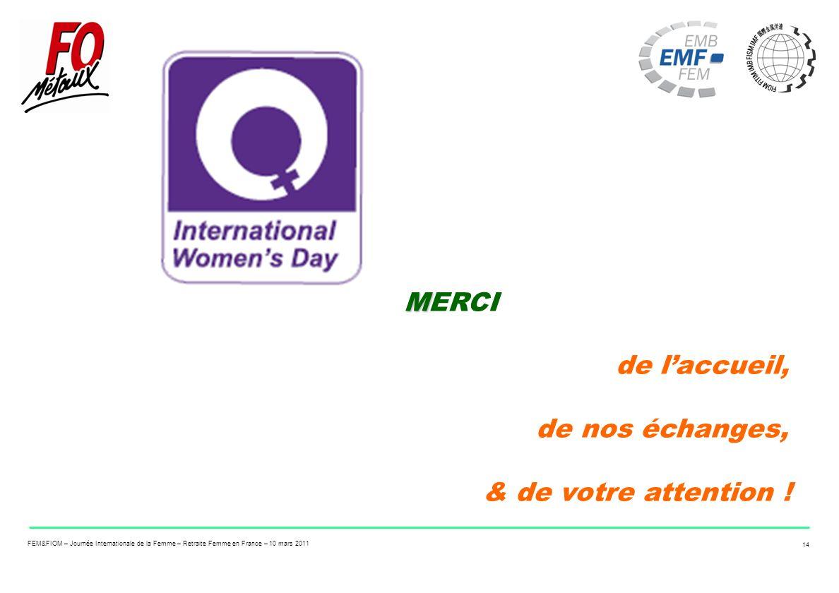 FEM&FIOM – Journée Internationale de la Femme – Retraite Femme en France – 10 mars 2011 14 M MERCI de laccueil, de nos échanges, & de votre attention