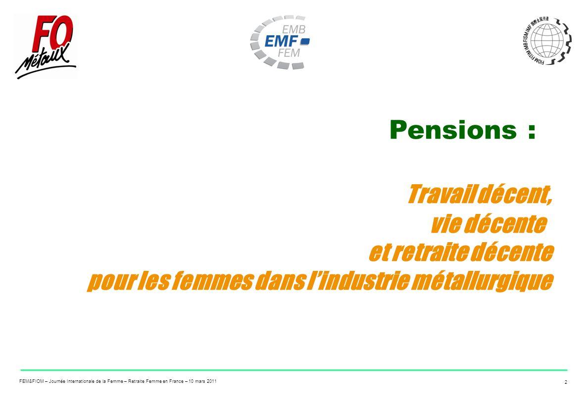FEM&FIOM – Journée Internationale de la Femme – Retraite Femme en France – 10 mars 2011 2 Pensions : Travail décent, vie décente et retraite décente p