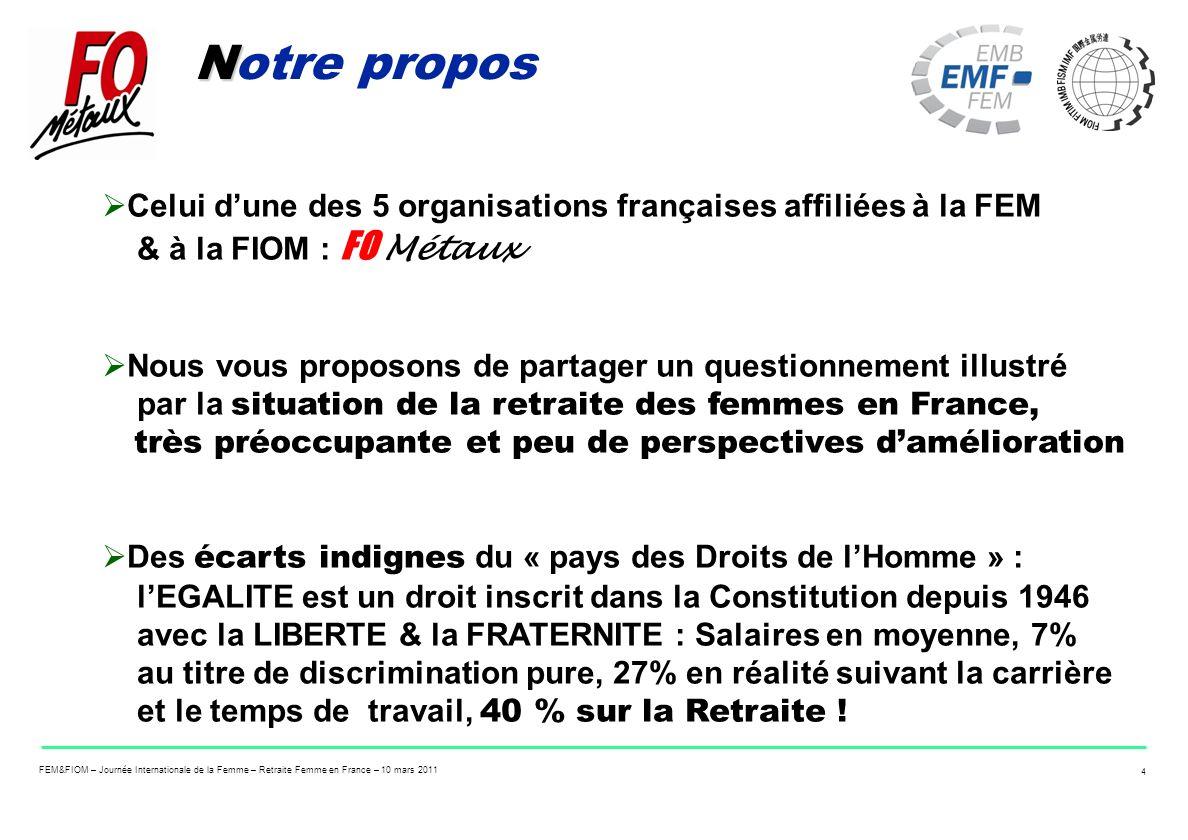 FEM&FIOM – Journée Internationale de la Femme – Retraite Femme en France – 10 mars 2011 4 N Notre propos Celui dune des 5 organisations françaises aff