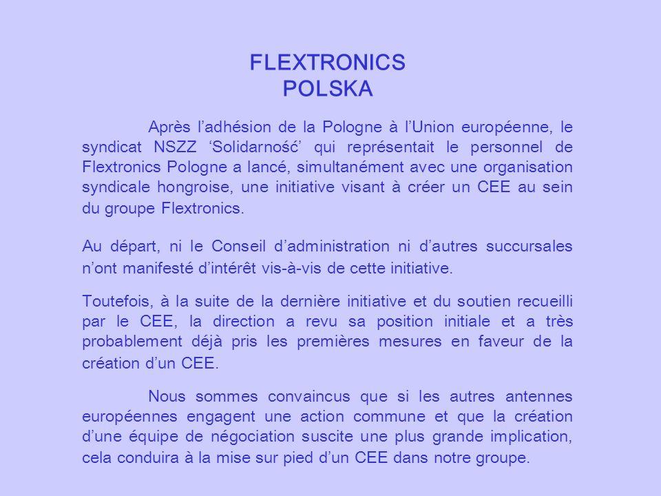 FLEXTRONICS POLSKA Après ladhésion de la Pologne à lUnion européenne, le syndicat NSZZ Solidarność qui représentait le personnel de Flextronics Pologn
