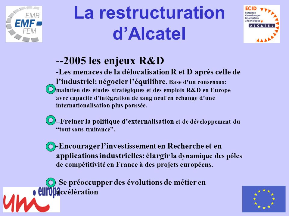 La restructuration dAlcatel --2005 les enjeux R&D -Les menaces de la délocalisation R et D après celle de lindustriel: négocier léquilibre.