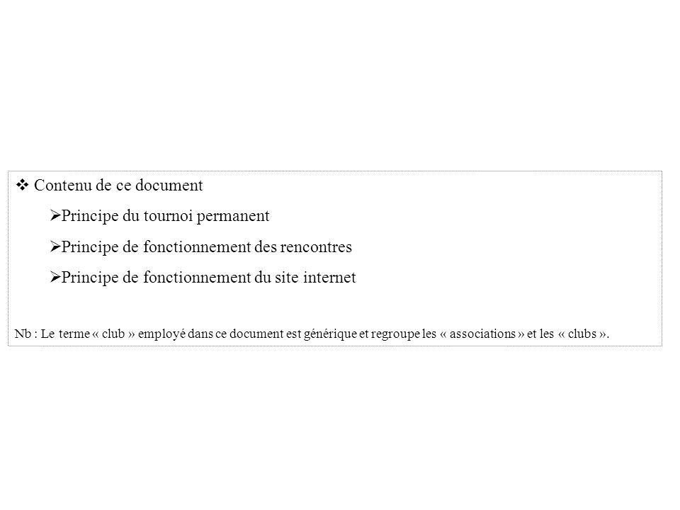Contenu de ce document Principe du tournoi permanent Principe de fonctionnement des rencontres Principe de fonctionnement du site internet Nb : Le terme « club » employé dans ce document est générique et regroupe les « associations » et les « clubs ».