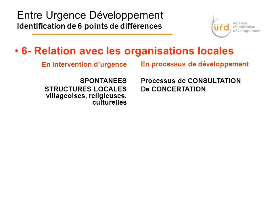 Entre Urgence Développement Identification de 6 points de différences 6- Relation avec les organisations locales En intervention durgence SPONTANEES S