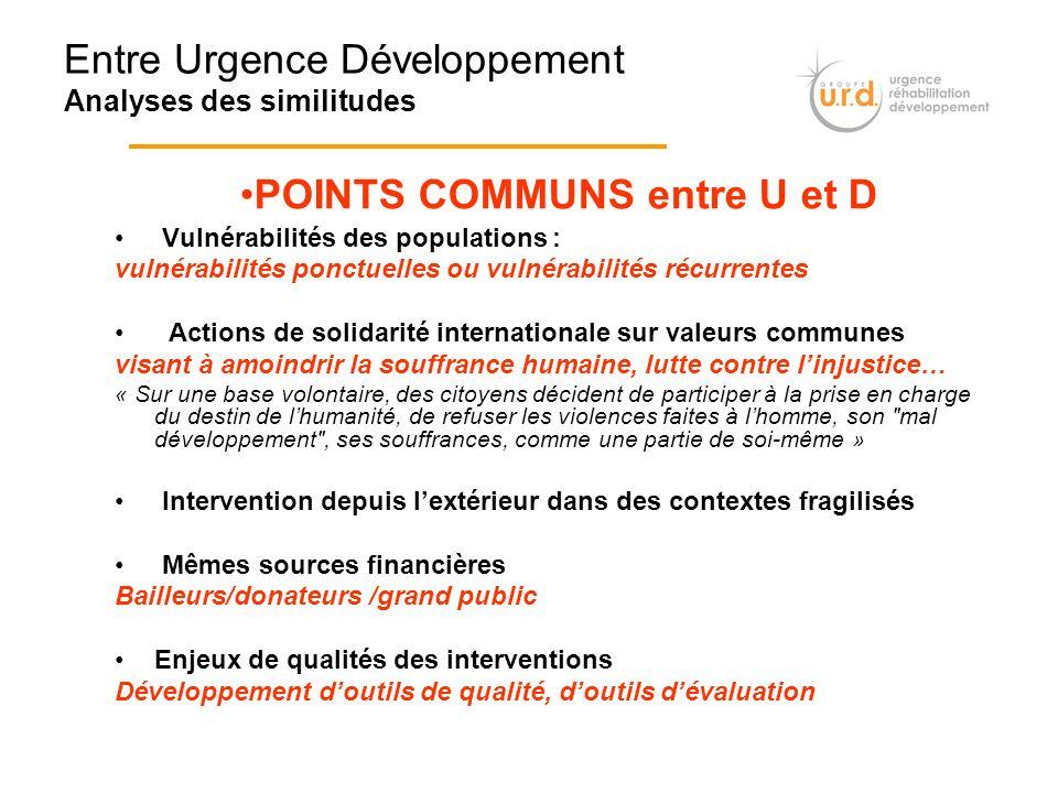 Entre Urgence Développement Analyses des similitudes Vulnérabilités des populations : vulnérabilités ponctuelles ou vulnérabilités récurrentes Actions