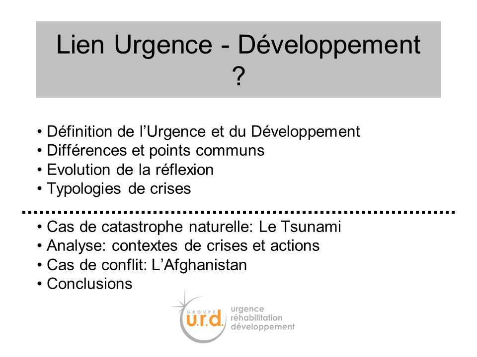 Définition de lUrgence et du Développement Différences et points communs Evolution de la réflexion Typologies de crises Cas de catastrophe naturelle: