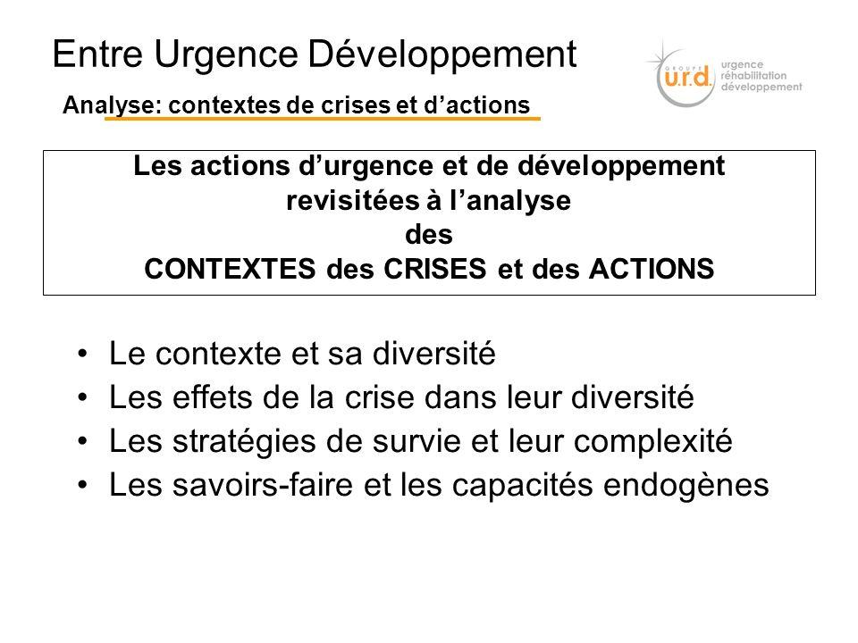Les actions durgence et de développement revisitées à lanalyse des CONTEXTES des CRISES et des ACTIONS Entre Urgence Développement Analyse: contextes