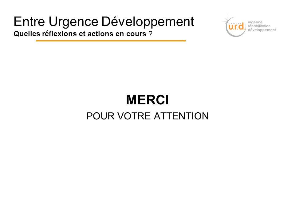MERCI POUR VOTRE ATTENTION Entre Urgence Développement Quelles réflexions et actions en cours ?