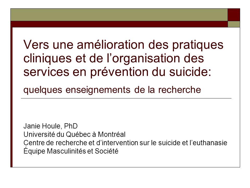 Considérant le profil des personnes qui senlèvent la vie à Montréal, nos pratiques et notre organisation des services sont-elles optimales pour prévenir le suicide?