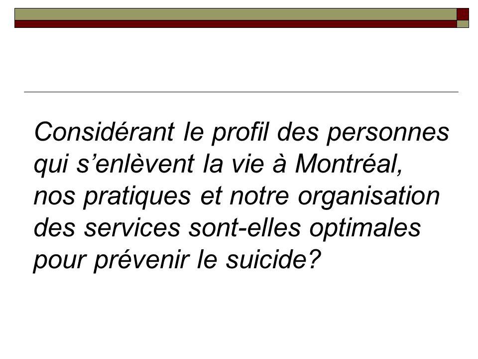 Considérant le profil des personnes qui senlèvent la vie à Montréal, nos pratiques et notre organisation des services sont-elles optimales pour prévenir le suicide
