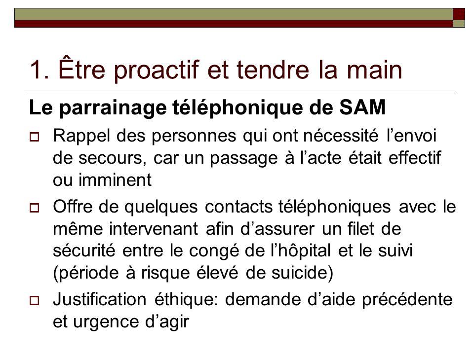 1. Être proactif et tendre la main Le parrainage téléphonique de SAM Rappel des personnes qui ont nécessité lenvoi de secours, car un passage à lacte