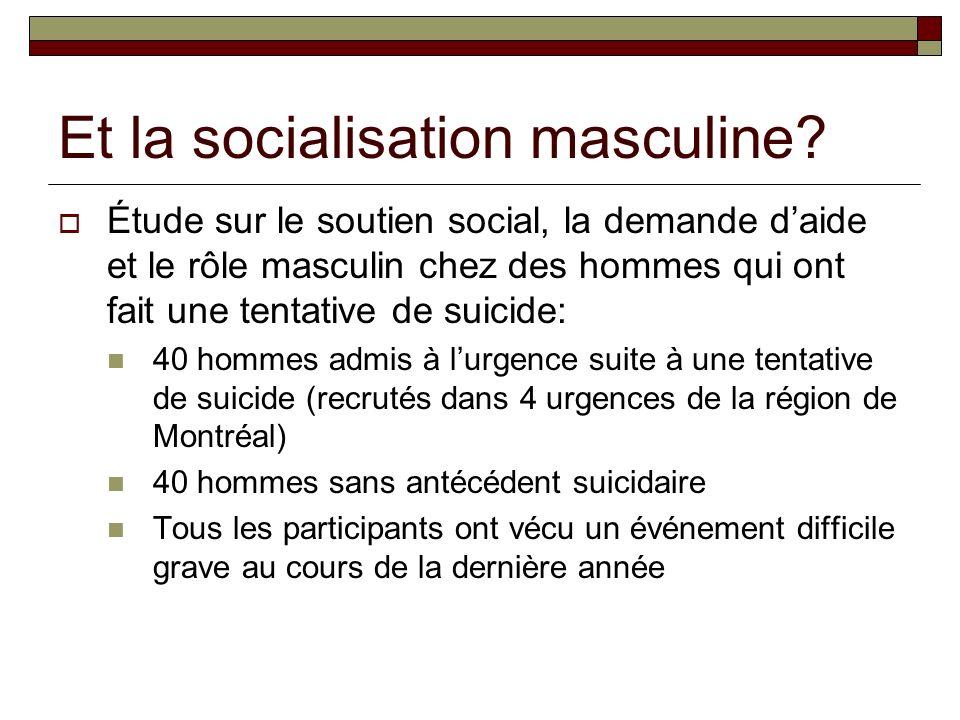 Et la socialisation masculine.