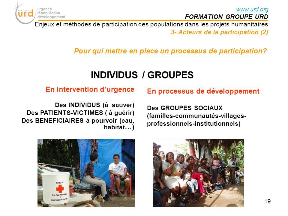 INDIVIDUS / GROUPES En intervention durgence Des INDIVIDUS (à sauver) Des PATIENTS-VICTIMES ( à guérir) Des BENEFICIAIRES à pourvoir (eau, habitat …) En processus de développement Des GROUPES SOCIAUX (familles-communautés-villages- professionnels-institutionnels) Pour qui mettre en place un processus de participation.