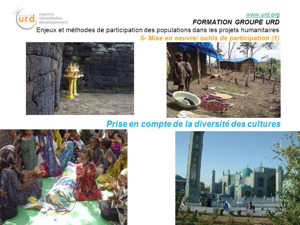 Prise en compte de la diversité des cultures www.urd.org FORMATION GROUPE URD Enjeux et méthodes de participation des populations dans les projets humanitaires 5- Mise en oeuvre/ outils de participation (1) 30