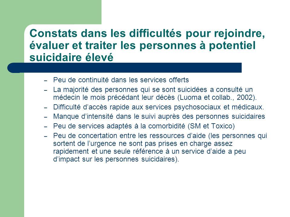 Constats dans les difficultés pour rejoindre, évaluer et traiter les personnes à potentiel suicidaire élevé – Peu de continuité dans les services offe