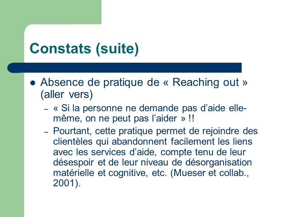 Constats (suite) Absence de pratique de « Reaching out » (aller vers) – « Si la personne ne demande pas daide elle- même, on ne peut pas laider » !! –